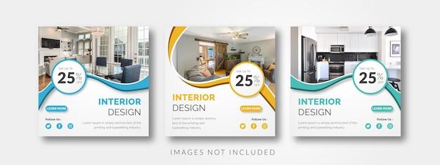 Modèle de médias sociaux de design d'intérieur