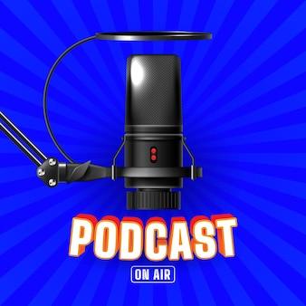 Modèle de médias sociaux en direct de podcast