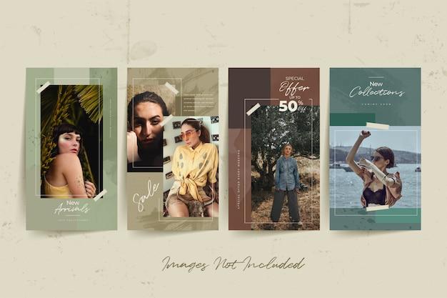 Modèle de médias sociaux fashion femme avec fond aquarelle abstrait
