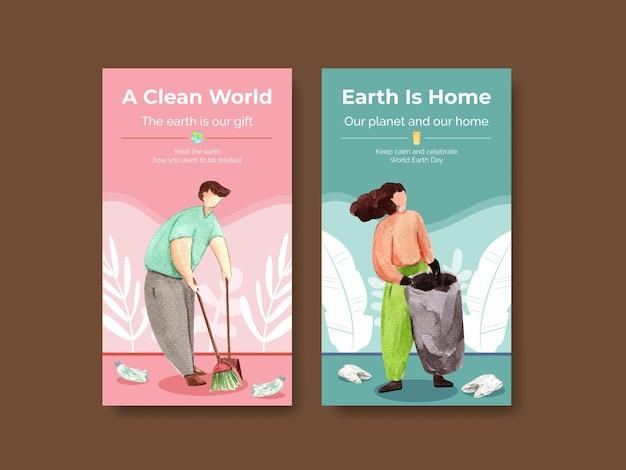 Modèle de médias sociaux avec illustration aquarelle de conception de concept de jour de la terre