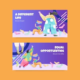 Modèle de médias sociaux avec illustration aquarelle de conception de concept de journée mondiale du syndrome de down