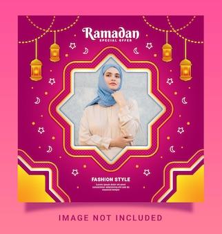Modèle de médias sociaux sur instagram pour la mode islamique du ramadan