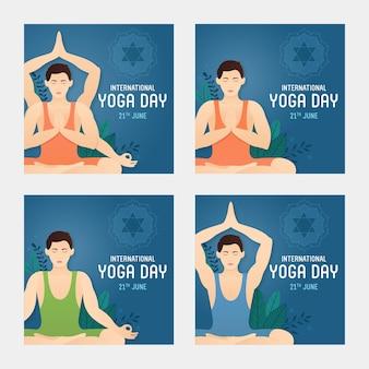 Modèle de médias sociaux de la journée internationale du yoga