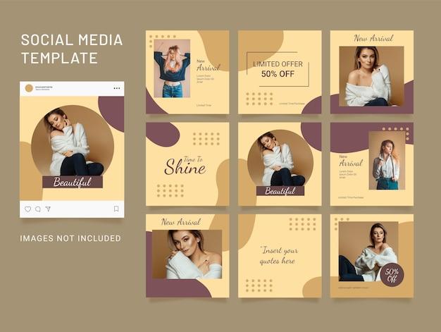 Modèle de médias sociaux mode femmes puzzle feed