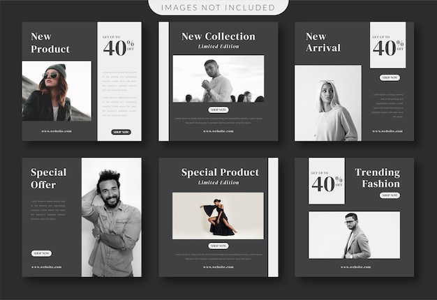 Modèle de médias sociaux de mode minimaliste noir et blanc