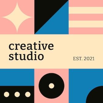 Modèle de médias sociaux modifiable vecteur bauhaus inspiré texte de studio créatif design plat