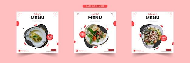Modèle de médias sociaux de nourriture et publication de médias sociaux de restaurant