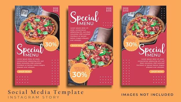 Modèle de médias sociaux pizza food pour publication instagram