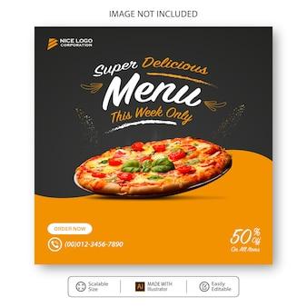 Modèle De Médias Sociaux Pizza Food Vecteur Premium
