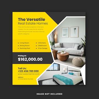 Modèle de médias sociaux pour l'immobilier de vente de maison et conception de bannières instagram