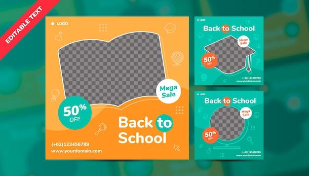 Modèle de médias sociaux pour le modèle de pack de publication instagram de méga vente de retour à l'école