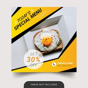 Modèle de médias sociaux de restaurant de menu spécial