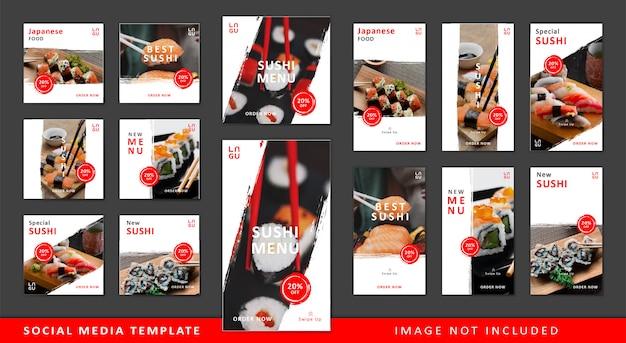 Modèle de médias sociaux de sushi
