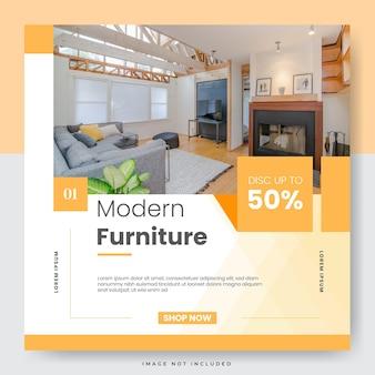 Modèle de médias sociaux de vente de meubles minimalistes et publication instagram