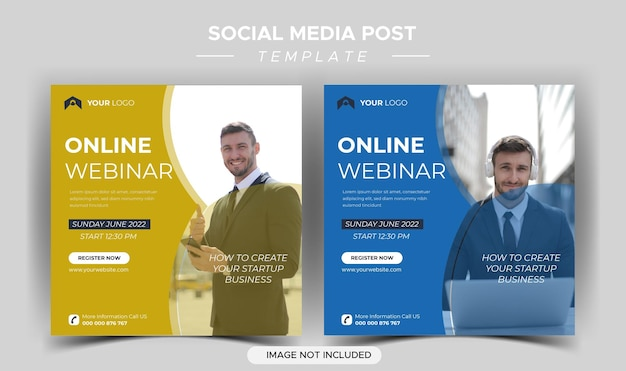 Modèle de médias sociaux de webinaire en direct de marketing numérique