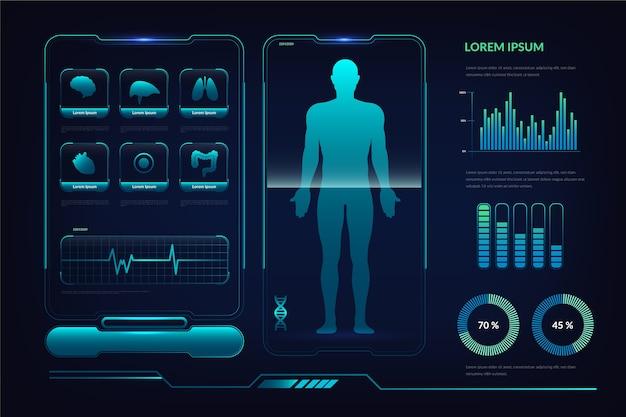 Modèle médical infographique futuriste