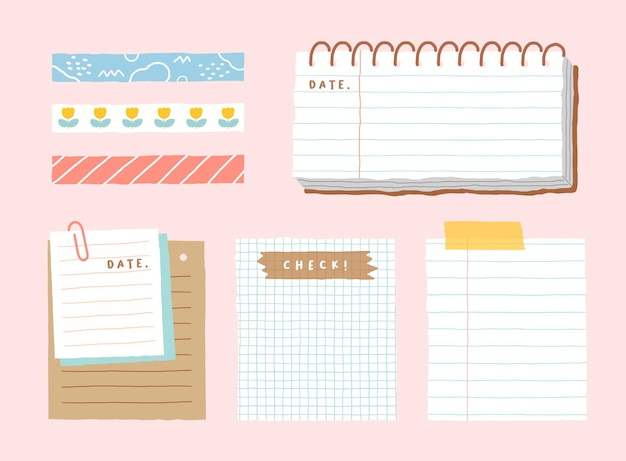Modèle de mémo mignon une collection de cahiers vierges à rayures et de notes déchirées utilisées dans un journal ou un bureau
