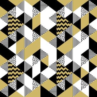 Modèle de memphis abstraite triangle transparente avec couleur or