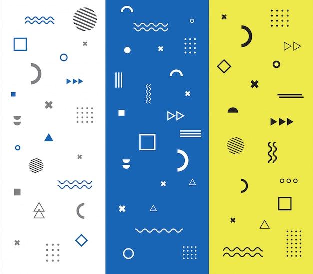Modèle de memphis avec jeu de formes géométriques