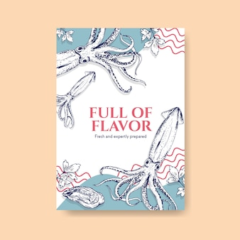 Modèle de menu affiche avec conception de concept de fruits de mer pour la publicité et l'illustration marketing