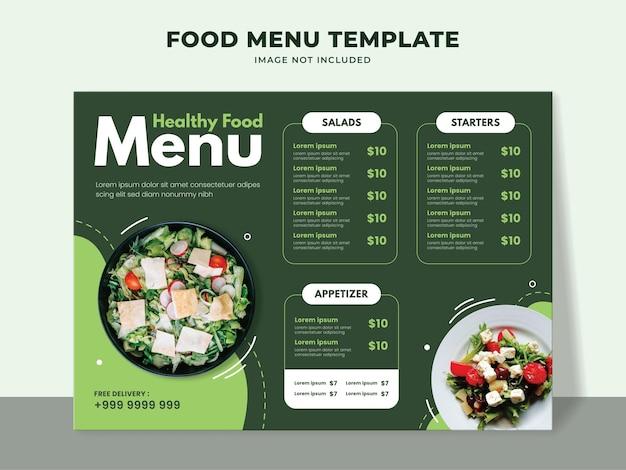 Modèle de menu d'aliments sains pour restaurant végétarien