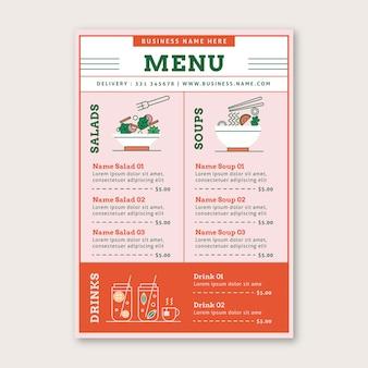 Modèle de menu d'aliments sains