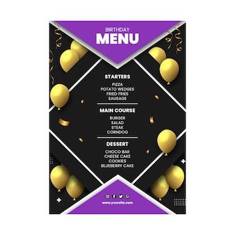 Modèle de menu d'anniversaire avec des ballons