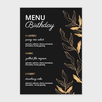 Modèle de menu d'anniversaire dessiné à la main