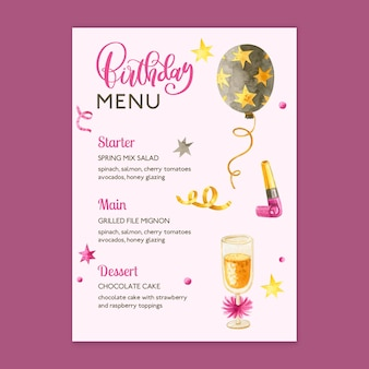 Modèle de menu d'anniversaire avec éléments dessinés