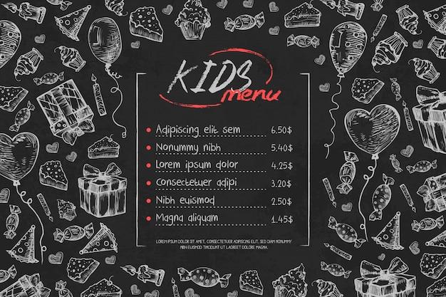 Modèle de menu anniversaire enfants