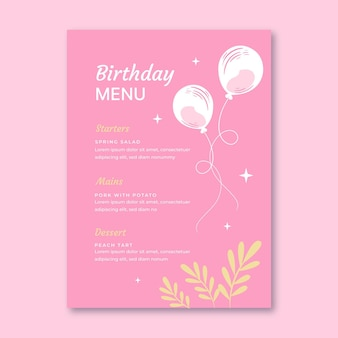 Modèle de menu d'anniversaire avec des feuilles