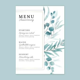 Modèle de menu d'anniversaire de mariage
