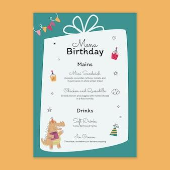 Modèle de menu d'anniversaire pour enfants