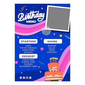 Modèle de menu d'anniversaire