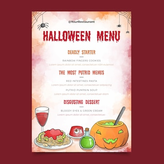 Modèle de menu aquarelle halloween