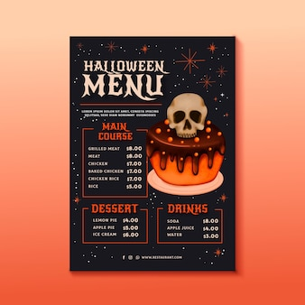 Modèle de menu aquarelle halloween
