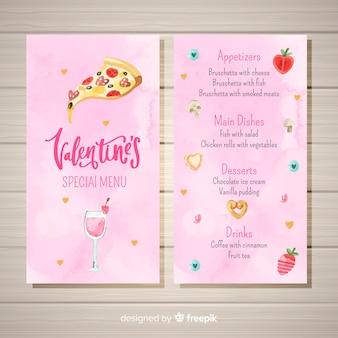 Modèle de menu aquarelle pizza saint-valentin