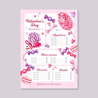 Modèle de menu aquarelle saint valentin