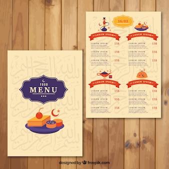Modèle de menu arab mignon avec des plats