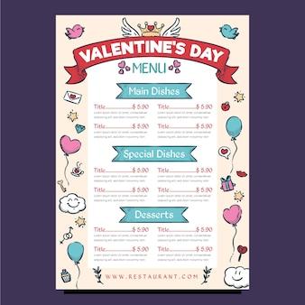 Modèle de menu de ballons de saint valentin dessinés à la main