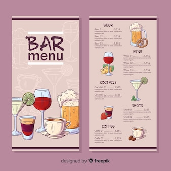 Modèle de menu de bar de restaurant
