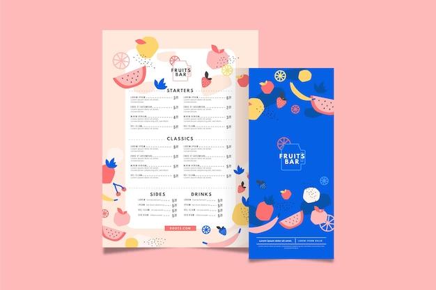 Modèle de menu de barre de fruits