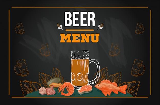 Modèle de menu de bière dans le style de croquis dessinés à la main sur le tableau
