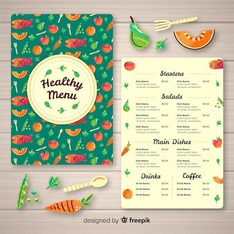 Modèle de menu bio dessiné à la main