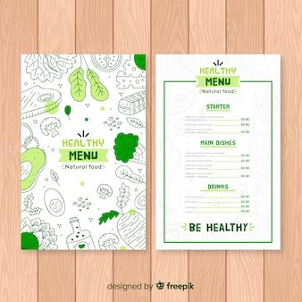 Modèle de menu bio doodle