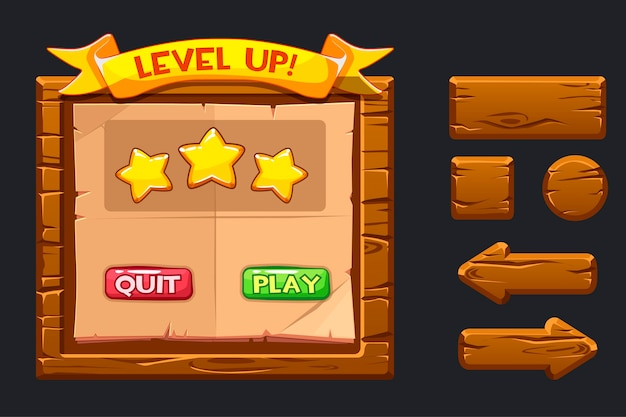 Modèle de menu en bois de l'interface utilisateur graphique