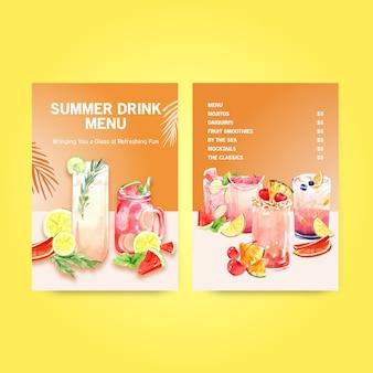 Modèle de menu de boissons d'été