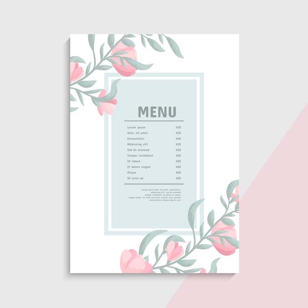 Modèle de menu avec bordure florale rose