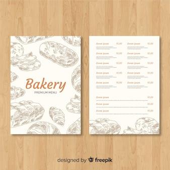 Modèle de menu de boulangerie dessiné à la main