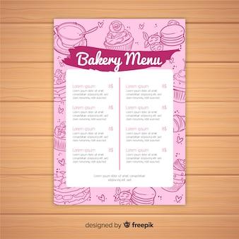 Modèle de menu de boulangerie rose